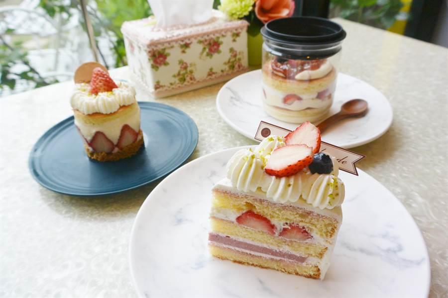 糖迷咖啡草莓季從11月中到4月中,除草莓罐罐,草莓覆盆子奶餡生乳酪、草莓鮮奶油蛋糕、愛戀草莓公主鬆餅也是熱銷主打商品。(巫靜婷攝)