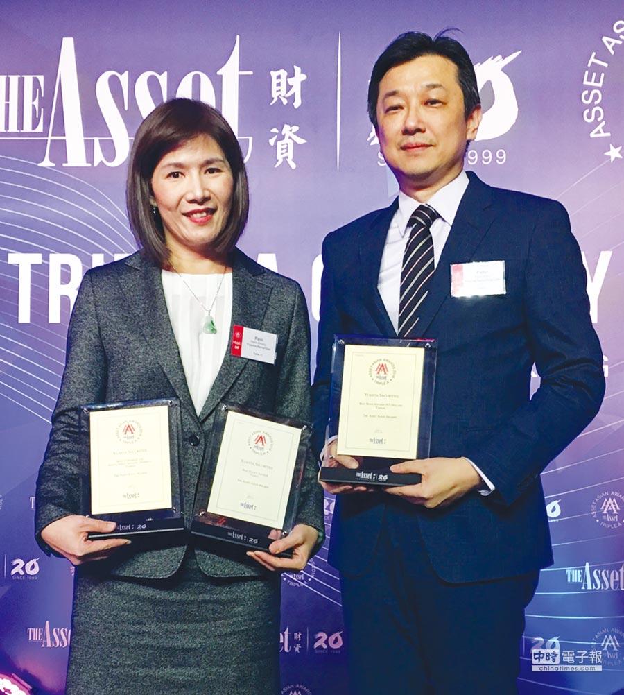 元大證券獲頒《財資雜誌》之「台灣最佳法人服務金融機構」、「台灣最佳股票投資顧問」和「台灣最佳台債投資顧問」等三大獎。圖/元大證券提供