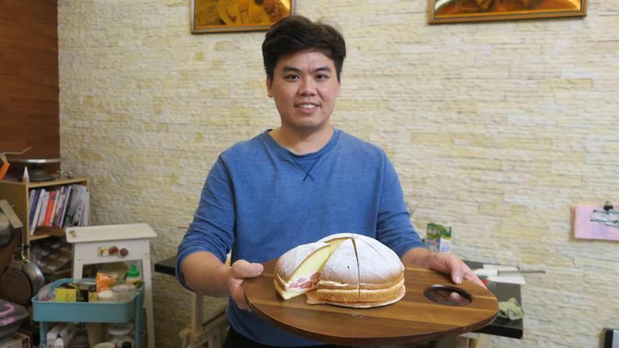 陳季禾大學、研究所學的是電機和光電,從小在烤爐旁幫忙、忙到怕的他,退伍後卻毅然決然投入甜點麵包烘焙的世界,一切從頭開始,少時打下的基礎讓他很快上手。(謝瓊雲攝)