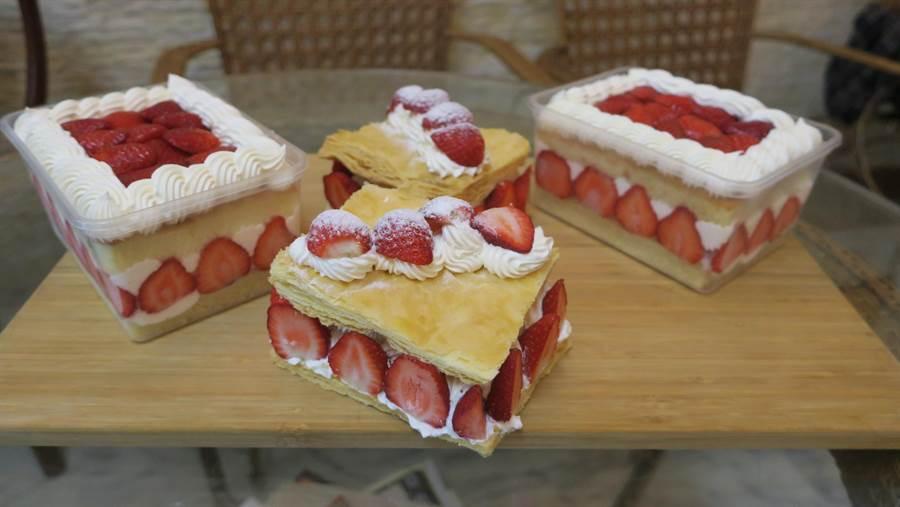 最有人氣的草莓爽和草莓千層派,是店內草莓季的熱銷商品,連團購宅配都超熱賣,擺上滿滿大湖直送新鮮草莓,每個250元。(謝瓊雲攝)