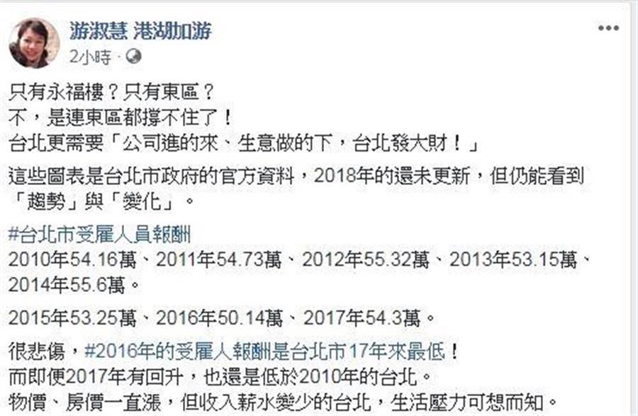 國民黨台北市議員游淑慧在臉書發文。翻攝游淑慧臉書