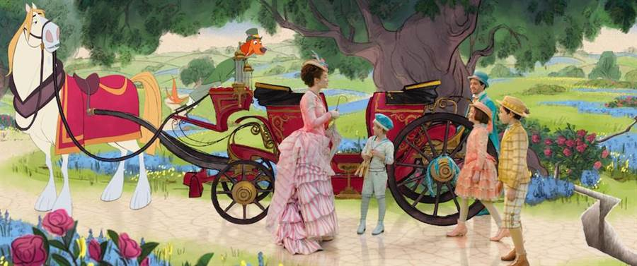 電影設計出一系列的手繪動畫結合真人演出的場景。(迪士尼提供)
