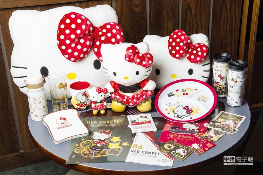 林口威秀影城三樓Hello Kitty Red Carpet美式餐廳年節期間推出讓Hello Kitty粉絲尖叫的超值獨家限量福袋。圖/業者提供