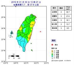 13:21地牛翻身!東部海域發生規模5.7地震 最大震度4級