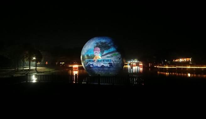 彰化燈會30日晚上試點燈,精彩的燈光藝術裝置超吸睛。(鐘武達攝)