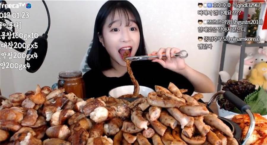 大胃王正妹狂嗑4.2公斤烤腸 真實體重驚人曝光(圖翻攝自/youtube/tzuyang쯔양)