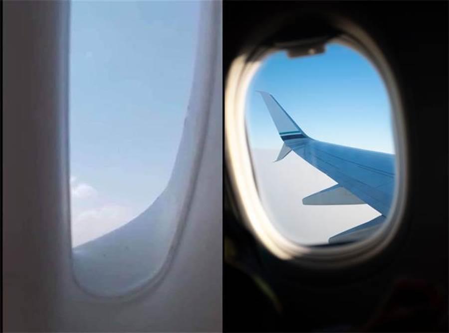 太有才了!他假裝出國神複製飛機窗 騙倒一票人(左圖翻攝自/爆廢公社二館/右為示意圖/達志影像)