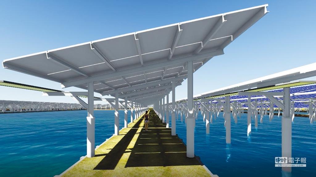 漁電共生3D概念圖。圖/臺鹽綠能提供