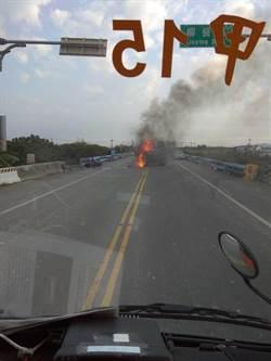 台南轎車機車相撞爆大火 里長母騎車被撞身亡
