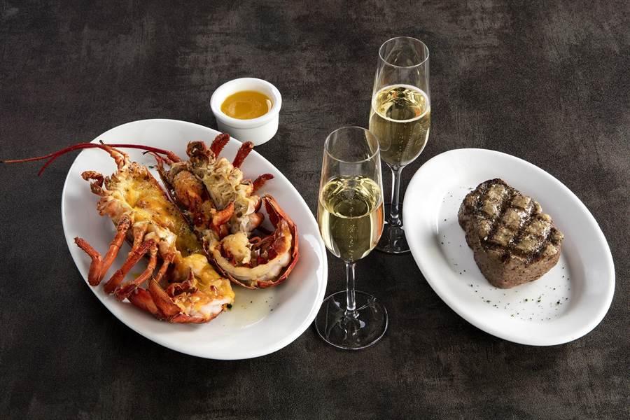 ▲頂級牛排搭配新鮮活龍蝦的雙人套餐。(圖/茹絲葵經典牛排館提供)