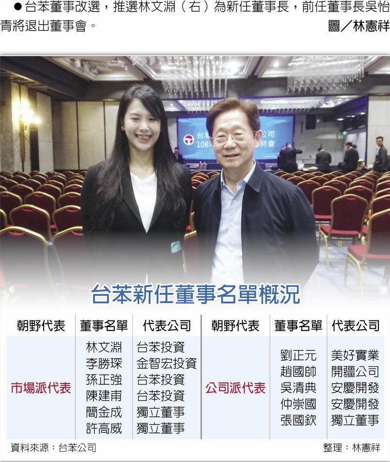 台苯董事改選,推選林文淵(右)為新任董事長,前任董事長吳怡青將退出董事會。圖/林憲祥