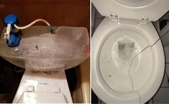 馬桶凍到炸裂!水箱水結成冰塊 極地渦旋好驚人