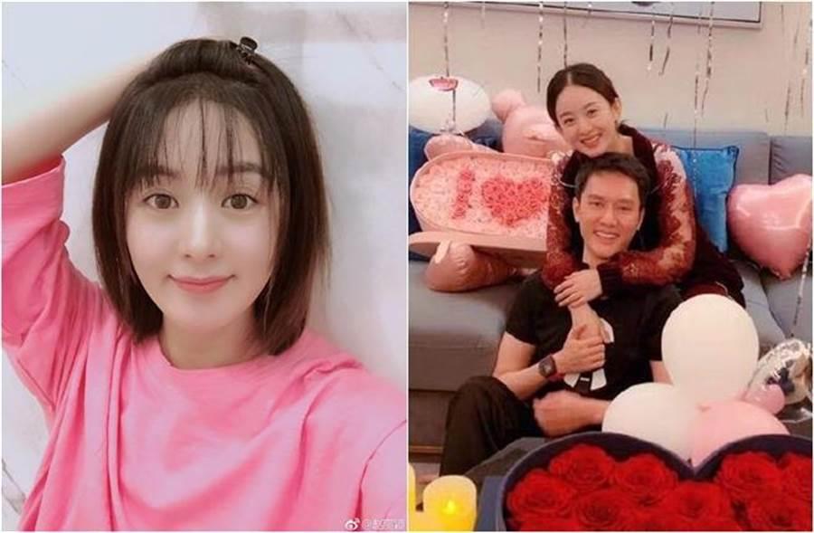 赵丽颖去年和冯绍峰闪婚并宣布有喜。(图/翻摄自赵丽颖、搜狐娱乐微博)