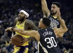 NBA》柯瑞末節回神 勇士五星戰隊轟翻湖人