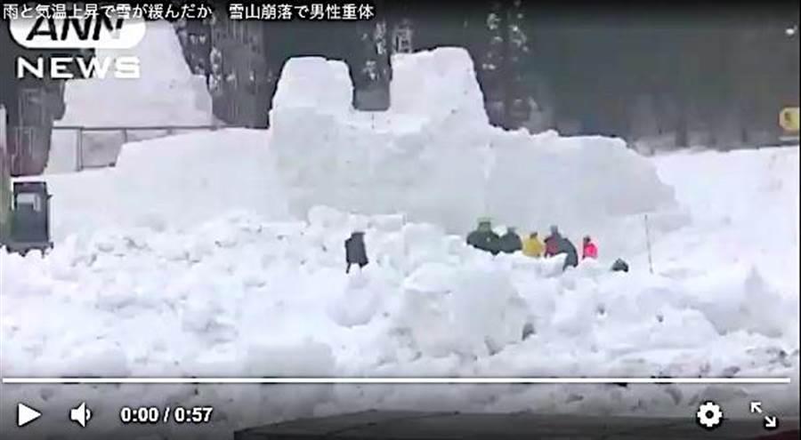 日本新潟十日町市15日起將舉辦「十日町雪祭」,4日在製造雪像的2名工作人員被突然崩塌的雪像掩埋。(取自朝電視台畫面)