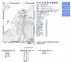大年初一地牛添亂 東部外海規模4.3地震 宜花3級