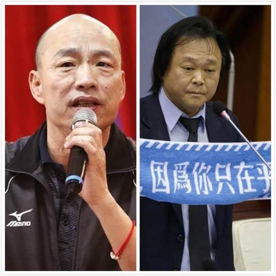 高雄市長韓國瑜(左)、台北市議員王世堅(右)。(合成圖/中時資料照)