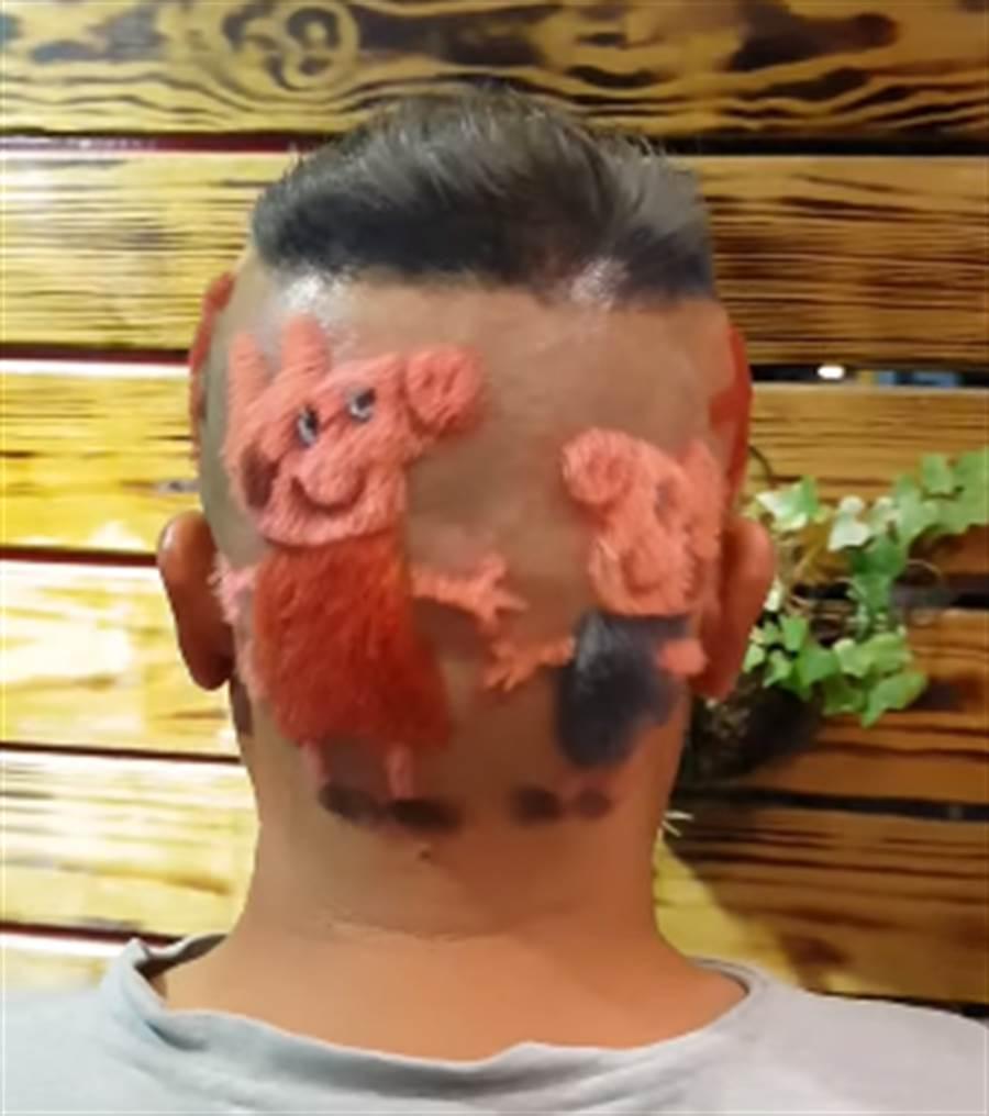 喜迎「金豬年」!男把頭剃成「佩佩豬」 吸睛又應景。(圖/翻攝爆廢公社)