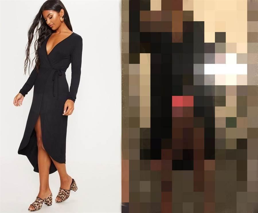 摩爾網購了一件「黑色爆乳連身裙」 結果卻不如預期(圖/翻攝自《The Sun》)
