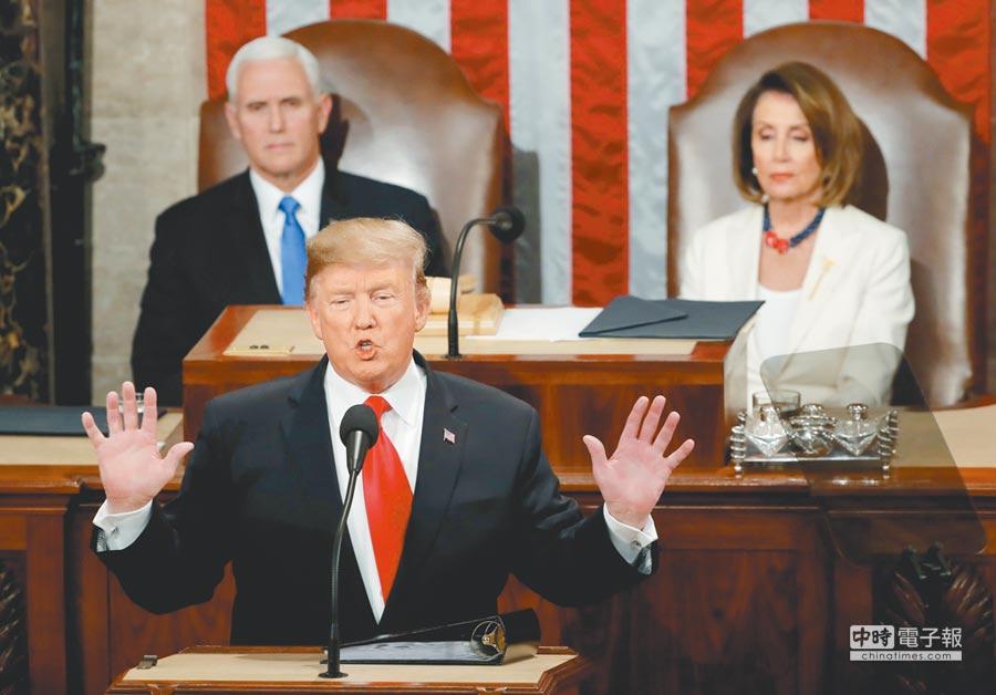 美國總統川普於美東時間5日晚間9時(台灣時間6日上午10時)在國會發表第二次國情咨文,歷時83分鐘,圍繞團結與選擇偉大兩訴求。(路透)