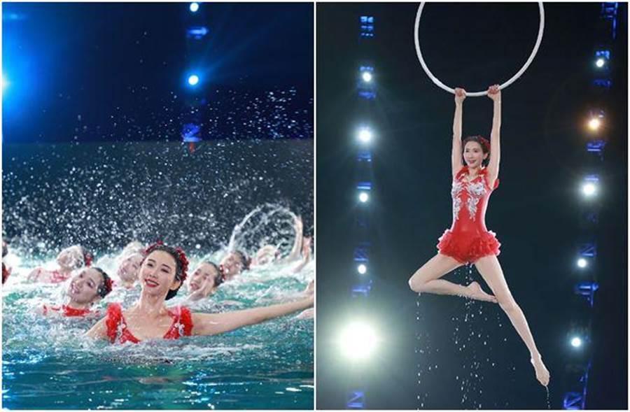 林志玲在春晚表演水上芭蕾《綻放》。(圖/翻攝林志玲微博)