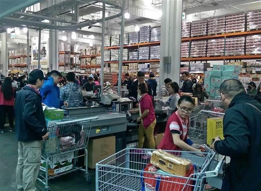 圖為好市多大賣場購物人潮。(資料照片 張鎧乙攝)
