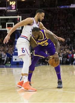 NBA》詹姆斯準大三元 湖人慘遭七六人狂毆