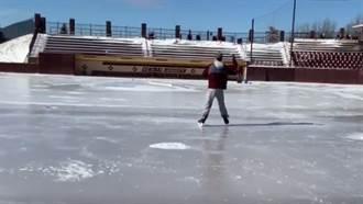 影》極地渦旋襲擊 美棒球隊冰上練球超狂!