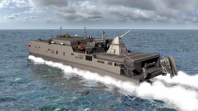 美國海軍所製作的電磁砲裝置在艦艇上的想像圖。(圖/美國海軍)
