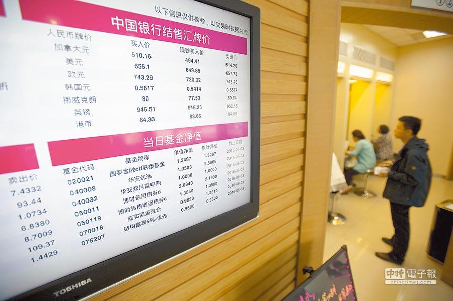 山西太原一家銀行的電子看板顯示最新匯牌價。(中新社資料照片)