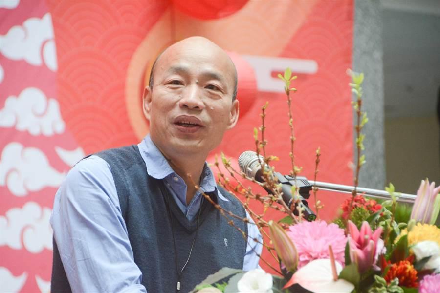 高雄市長韓國瑜11日上午主持市府新春團拜,勉勵市府團隊服務腳步要跟上。(林宏聰攝)