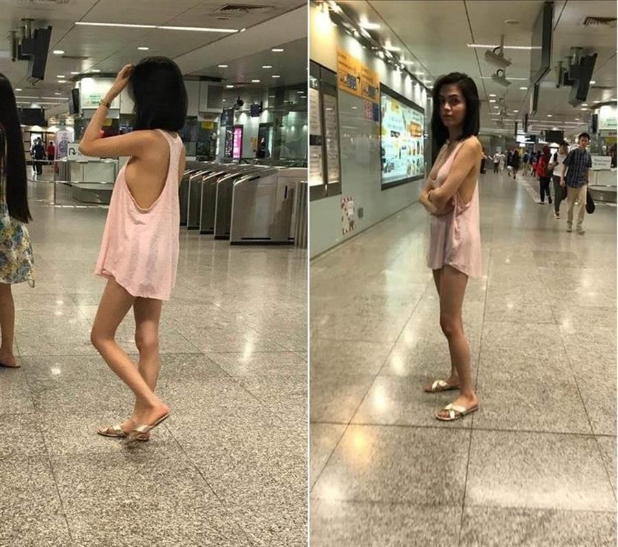 女子穿著火辣睡衣在地鐵站ATM前排隊提款,照片引發討論。(翻攝自HWZ論壇)
