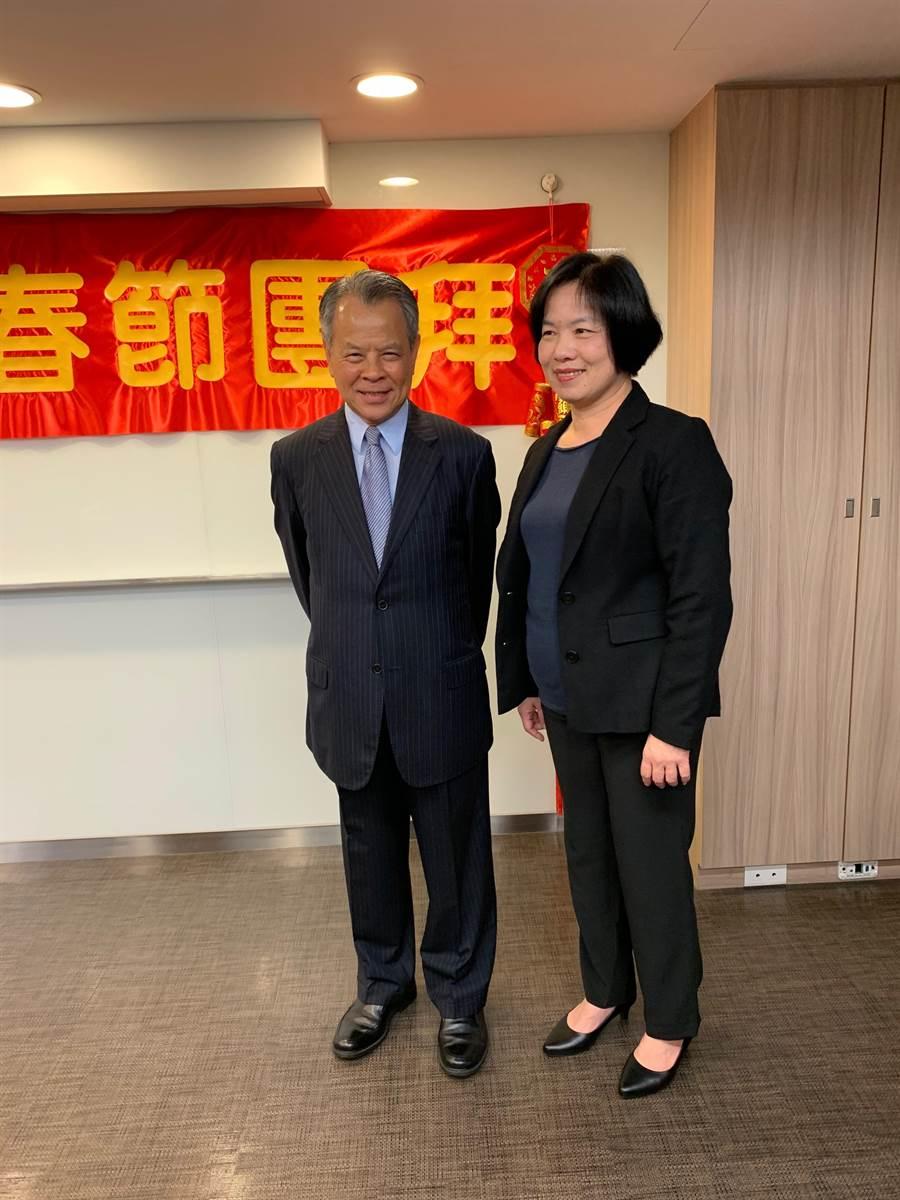 產險業新春團拜,保險局局長施瓊華(右)、產險公會理事長陳燦煌(左)黃惠聆攝