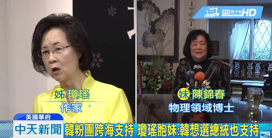 作家瓊瑤與胞妹陳錦春都是鐵桿韓粉。(圖/中天新聞)