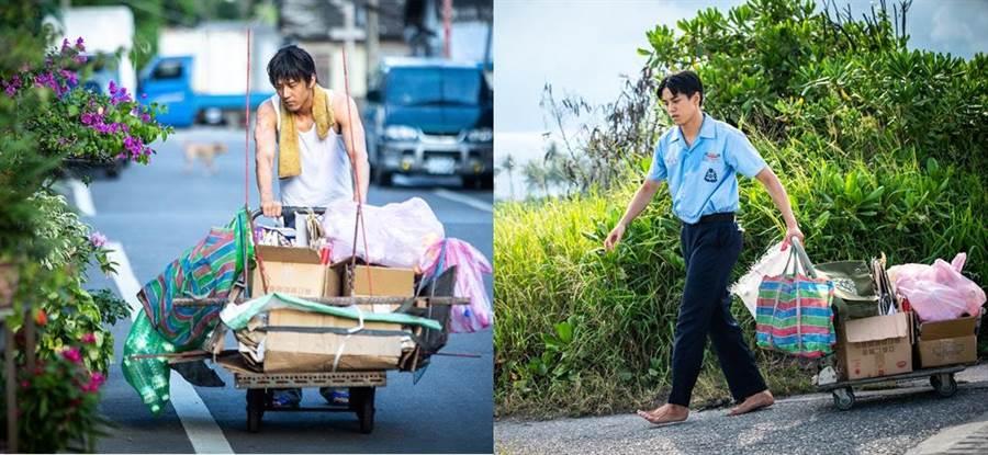 胡宇威(左)和徐謀俊在片中都有撿回收的畫面。