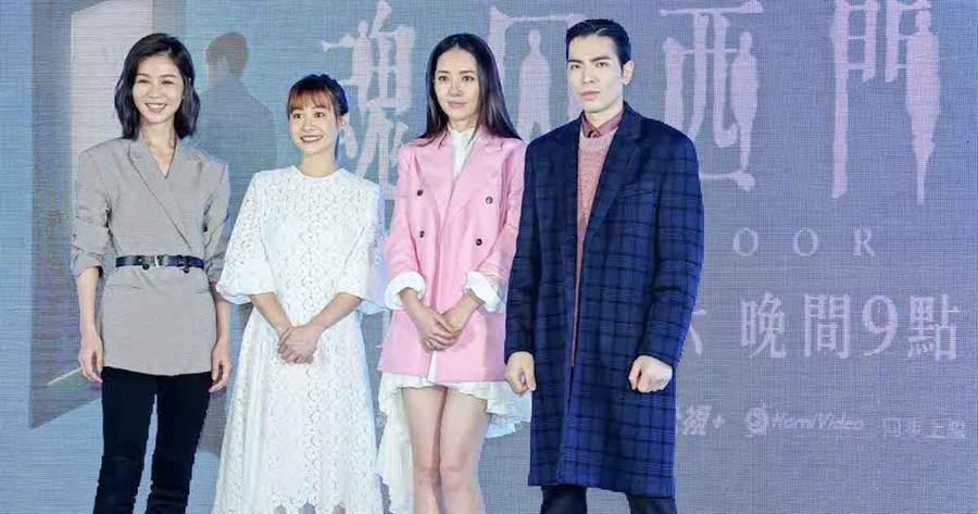 蕭敬騰(右起)、郭碧婷、鄭宜農、謝盈萱。羅永銘攝
