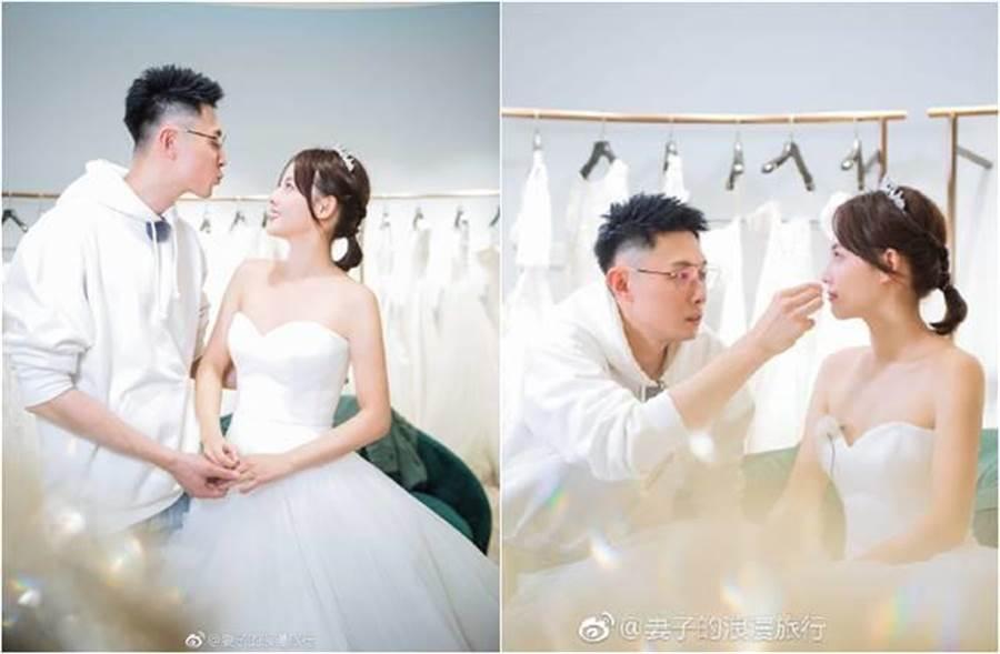 張嘉倪與老公互動甜蜜。(圖/取材自妻子的浪漫旅行微博)