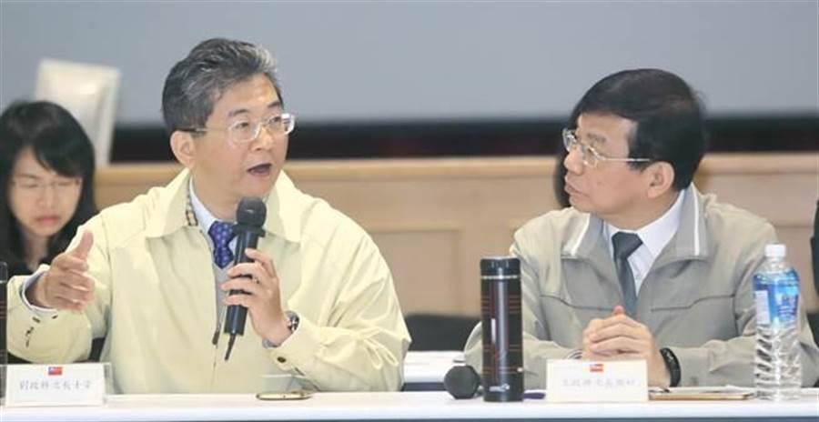 勞動部政務次長劉士豪(左)。(張鎧乙攝)