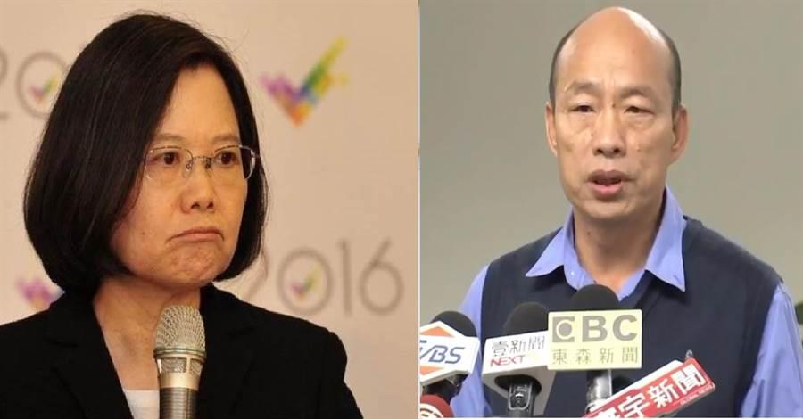 總統蔡英文(左)、高雄市長韓國瑜(右)。(圖/本報資料照)