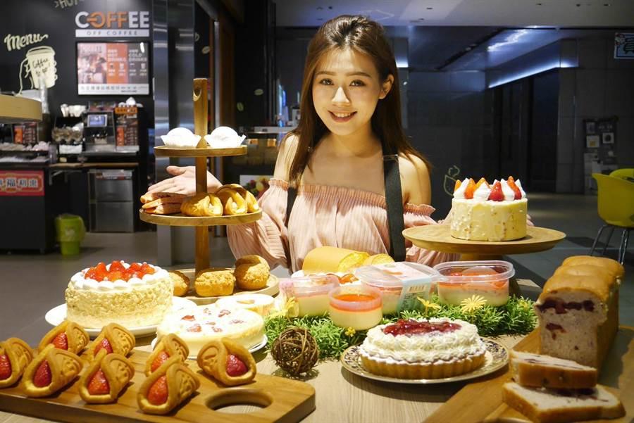 全聯今年推出15款「網美系」草莓季甜點,以大顆新鮮草莓妝點蛋糕,並維持高CP值定價,滿足「草莓控」味蕾!圖/全聯提供