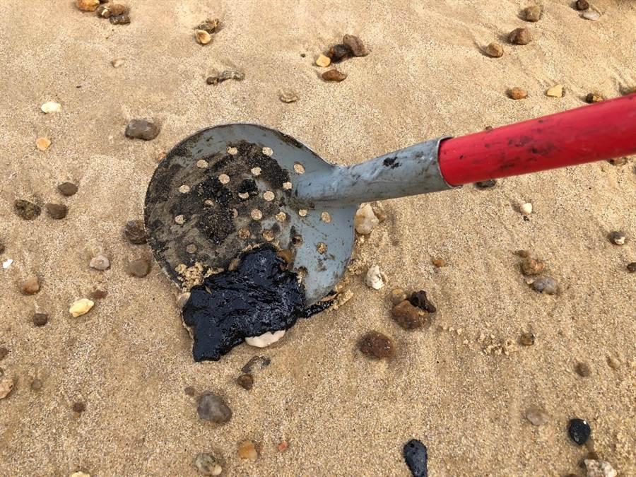 潔淨的海灘留下一堆堆黑色,且十分膠稠的油漬。(李金生攝)
