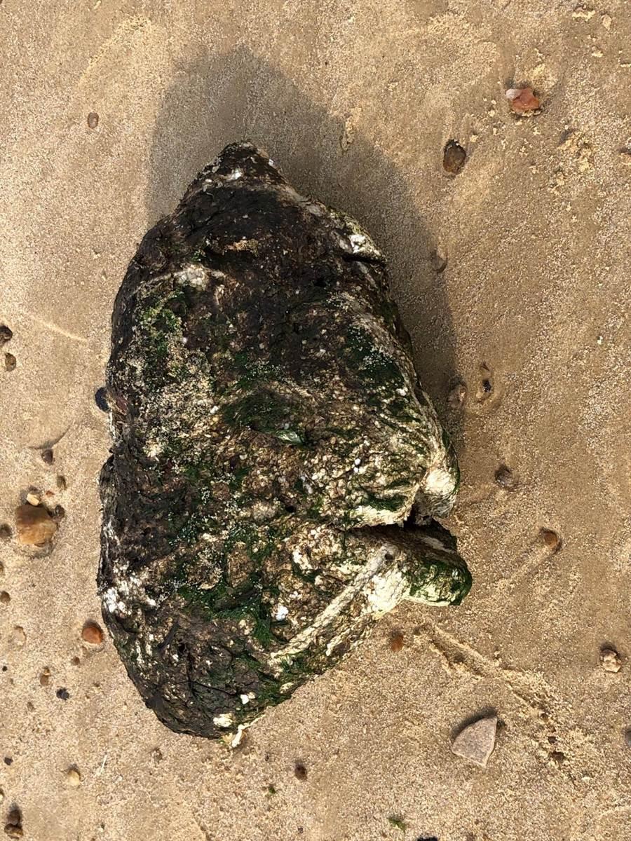 膠稠重油帶來嚴重汙染,研判是路過當地海域的大陸船舶沿途偷排廢油所致。(李金生攝)