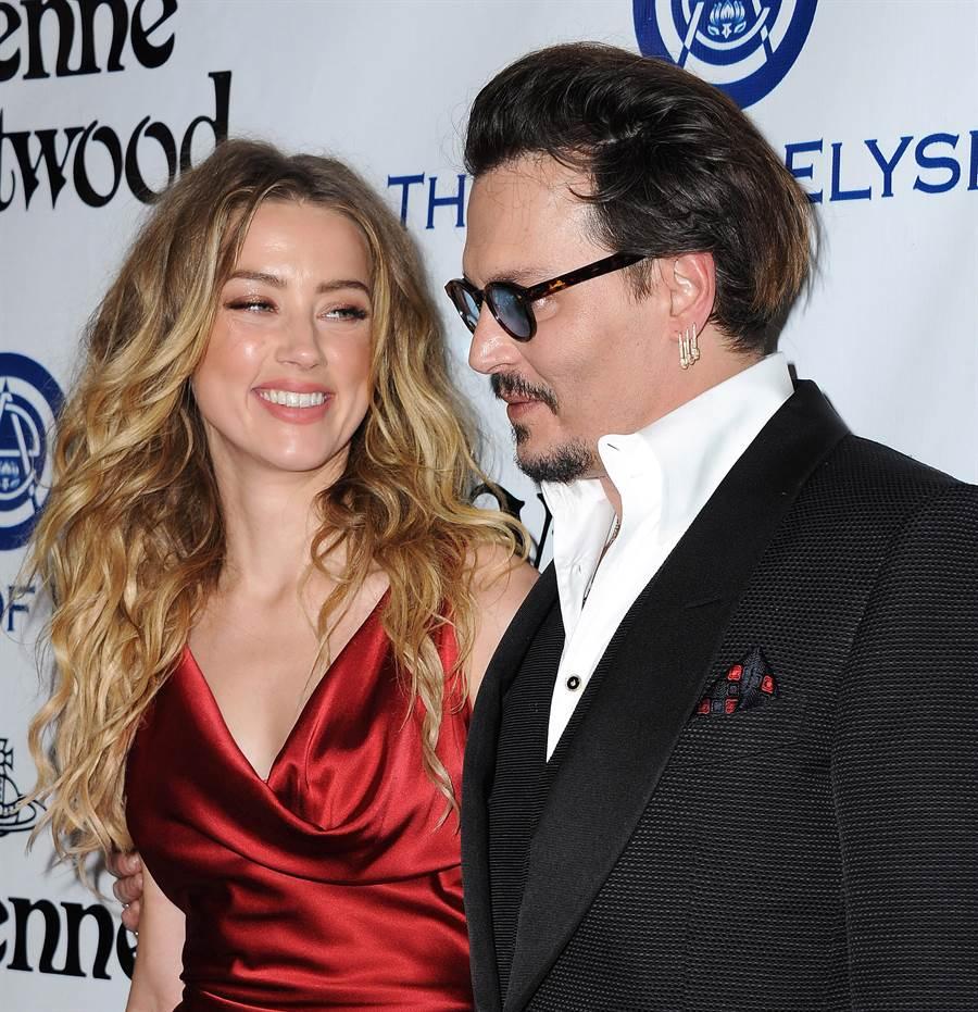 強尼戴普與前妻安柏赫德。(達志影像)