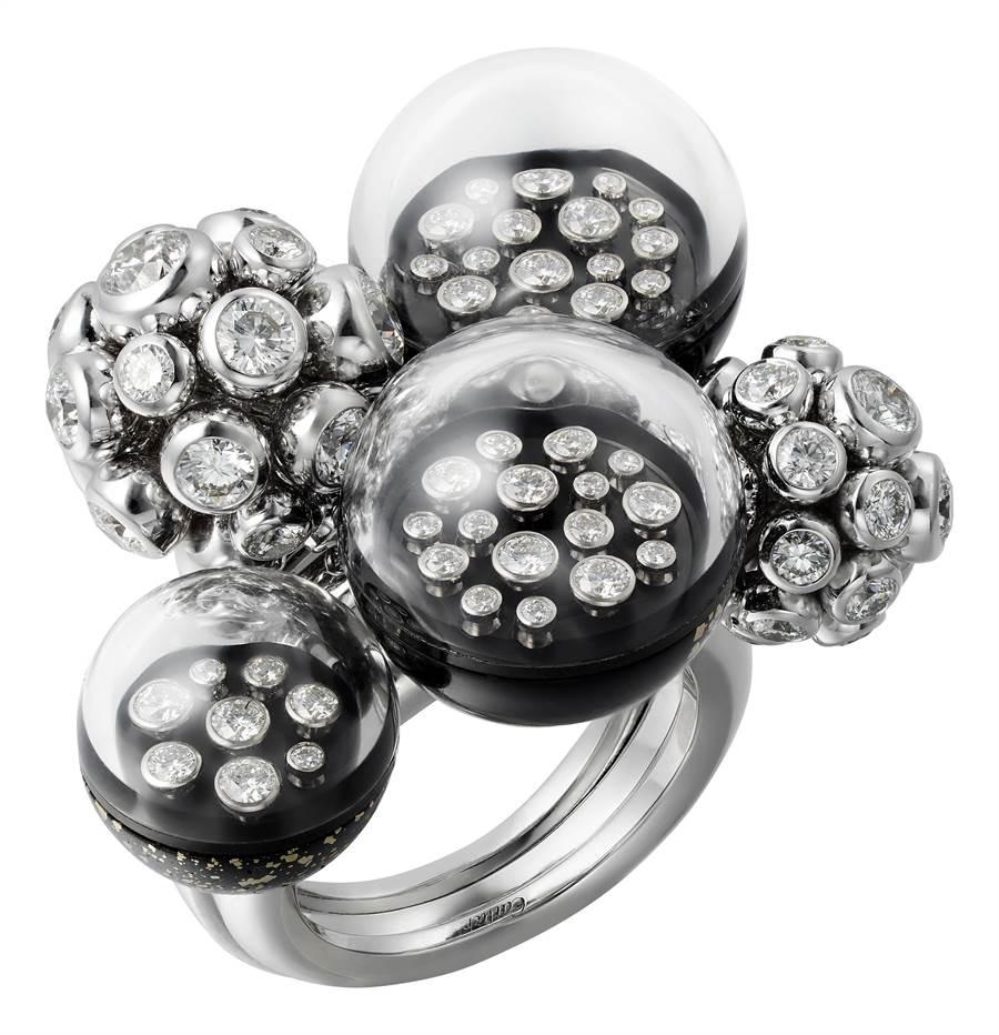 卡地亞GalaxiesdeCartier珠寶的Atmostpheres戒指,250萬元。(Cartier提供)