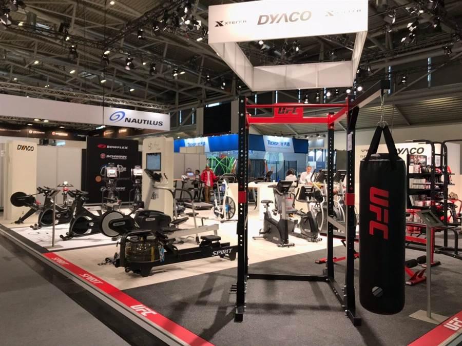 圖說:岱宇國際2月3日至6日在2019德國慕尼黑國際體育用品展(ISPO),展示Sole、Xterra及UFC等品牌新款健身器材產品,成功吸引諸多廠商洽談代理,預計2019年全球代理商將突破30家。(圖/岱宇提供)