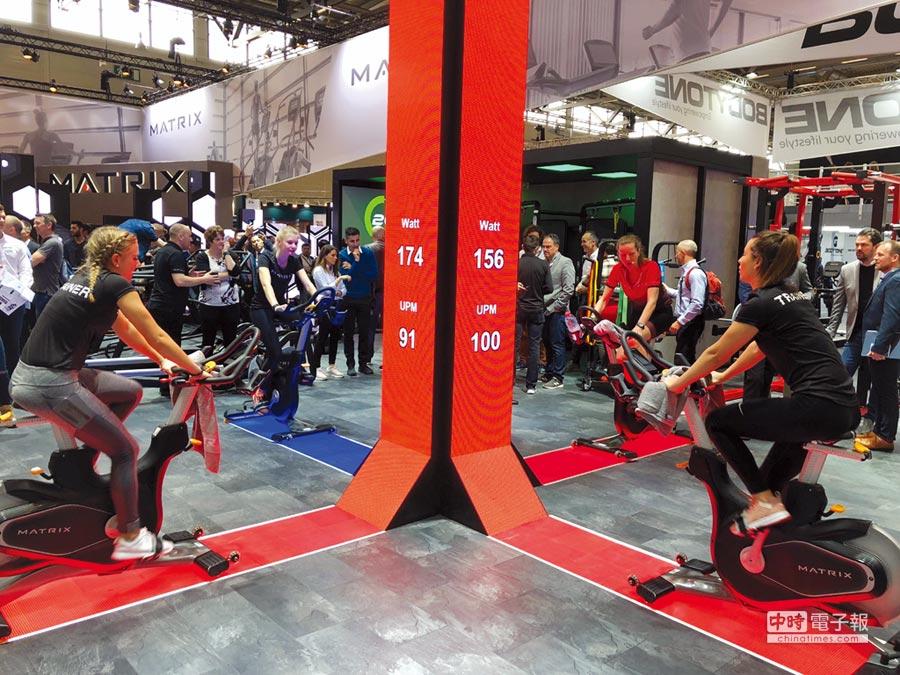 健身器材產業最近營運轉強,相關業者忙著規劃新廠或擴產。圖為喬山旗下Matrix品牌新型飛輪健身車。圖/劉朱松