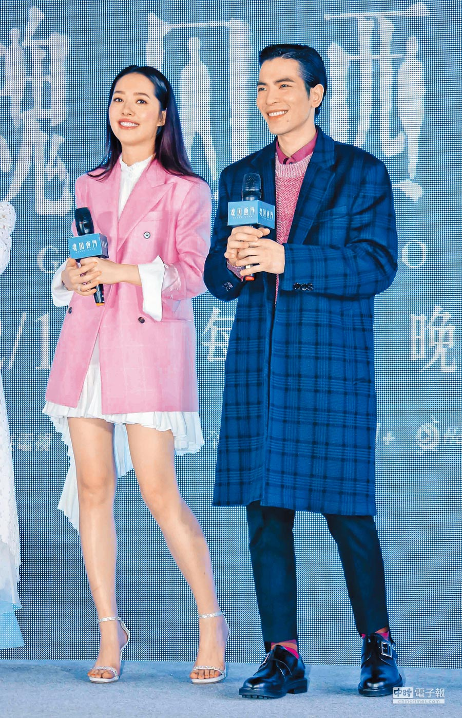 蕭敬騰(右)和郭碧婷昨為新戲造勢。(羅永銘攝)