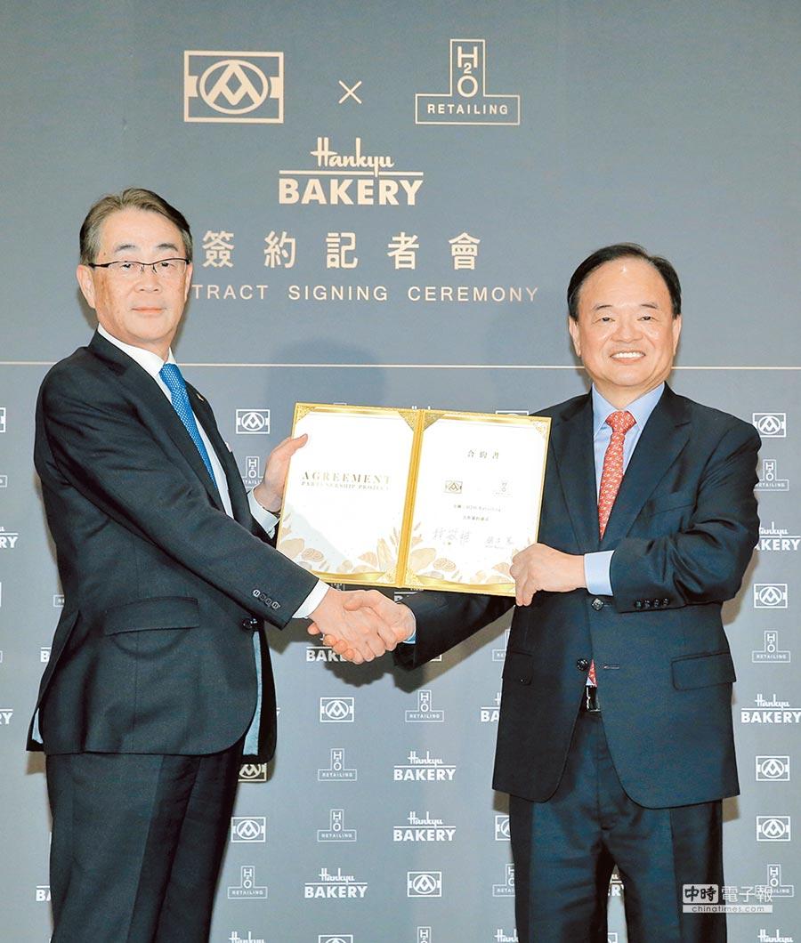全聯董事長林敏雄(右)與H2O RETAILING株式會社社長鈴木篤(左)簽約合作,共同拓展烘焙市場版圖。(盧禕祺攝)