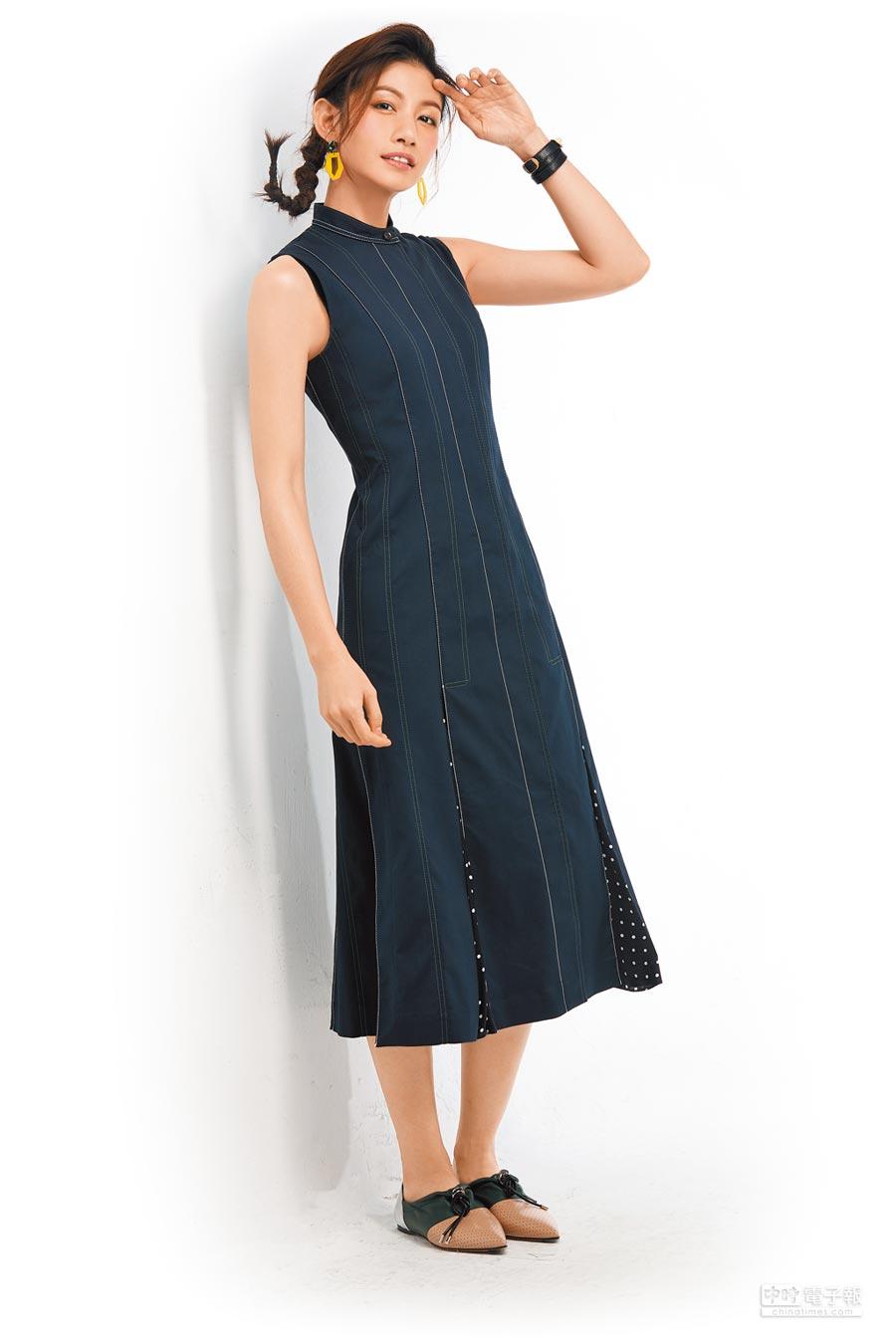 李千那將不盲從、做自己的個性融入私服造型中,並以舒服、自在、簡單描述自己的日常穿搭風格,穿SPORTMAX無袖修身連身裙5萬2600元。(JOJ PHOTO攝)