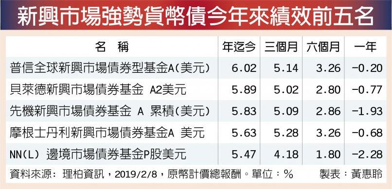 新興市場強勢貨幣債今年來績效前五名